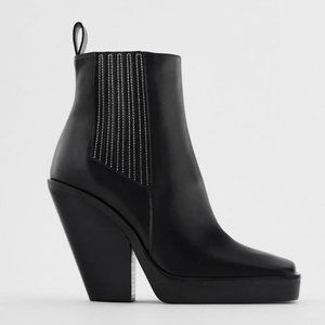 🔥MOVING SALE🔥NEW ZARA LEATHER Boot COWBOY Chunky